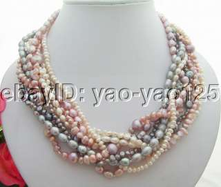 Excellent 9Strds Multi Color Pearl Necklace
