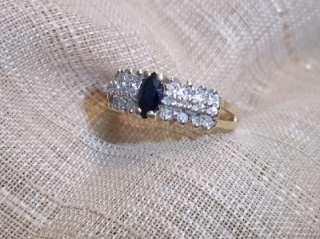 14k yellow gold sapphire & diamond pyramid ring sz 6