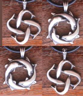 Infinite Love Dolphin pewter pendant W black necklace