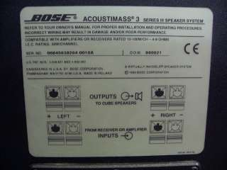 BOSE ACOUSTIMASS 3 SERIES III SPEAKER SYSTEM   SUBWOOFER SUB AND 2