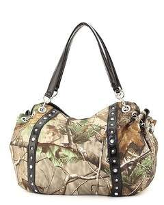 Camo Studded & Rhinestone Hobo Camouflage Handbag Purse (Black or Red