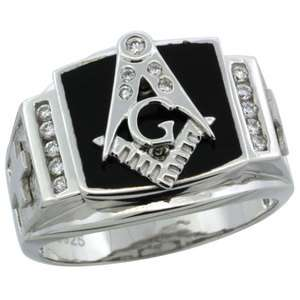 Sterling Silver Mens Black Onyx MASONIC Ring w/CZ & Frosted Crosses