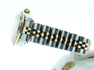 Ladies Rolex Two Tone 18k Gold/Ss Datejust Watch W/Diamonds & Rubies
