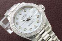 LADIES ROLEX 18K WHITE GOLD/SS DATEJUST DIAMOND BEZEL WATCH PLUS