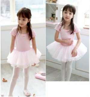 Pink Girl Party Leotard Ballet Tutu Costume Dance Skirt Short Sleeve