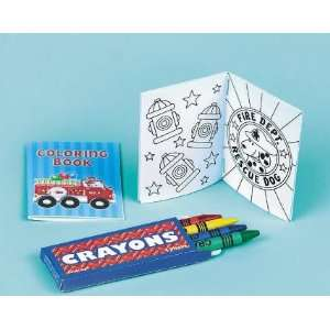 Favor Kits of Fire Engine Fun Coloring Books and Crayons Toys & Games