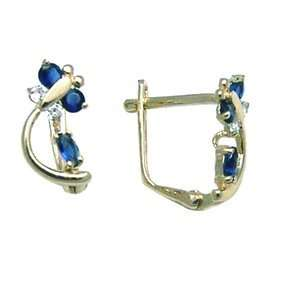 Sapphire Blue   Spring Time Butterfly 14k Yellow Gold Huggie Earrings
