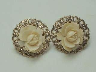 Vintage Ornate Gold Tone Cream Rose Screw Back Earrings