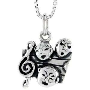 925 Sterling Silver G Clef & Comedy / Tragedy Masks Pendant (w/ 18