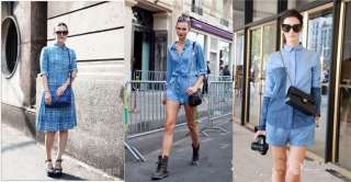 Sexy Womens Blue Denim Shirt Casual Long Sleeves Jumpsuit Romper Pants