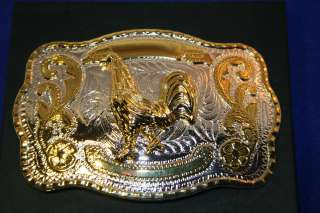 Rooster Western Cowboy Belt Buckle Silver and Gold Tone Metal