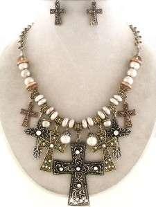 Antique Tri Tone Cross & Bead Necklace Earring Set