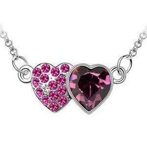 Double Heart of Ocean Swarovski Crystal Necklace Platinum