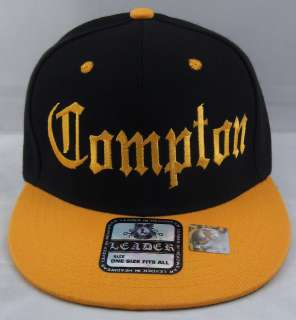 COMPTON Snapback Hat LA Cap EazyE Dre Cube NWA Black Yellow Gold New