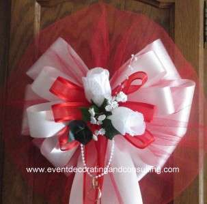 WHITE ROSES RED TULLE Satin Rib Pew Bows for Weddings
