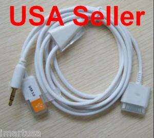 USB 3.5mm AUX Car Audio/Data/Charger Cable iPod iPhone