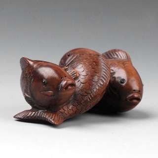 Carved wood Boxwood Sculpture Carving Signed Netsuke 3 Carp