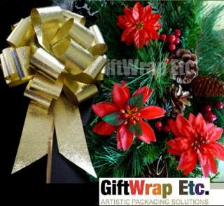 GOLD STRIPE 8 PULL BOWS GIFT CHRISTMAS WREATH TREE DECORATIONS