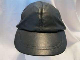 BLACK GENUINE LEATHER BASE BALL HAT CAP BIKER STYLE NWT