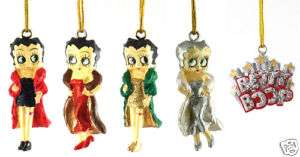 BETTY BOOP Set of 5 Mini Christmas Ornaments NEW CUTE