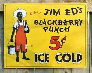 Americana Black Berry Punch Tin Sign Garage Man Cave Kitchen