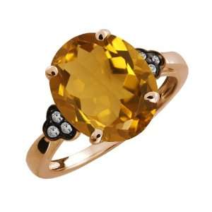 4.37 Ct Oval Champagne Quartz and Topaz Gold Plated