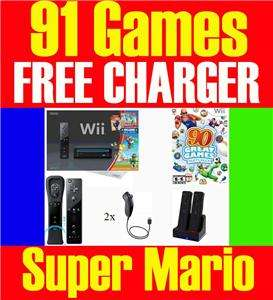 BLACK Wii CONSOLE SYSTEM TWO PLAYERS 107 GAMES 013964338034