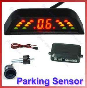 Car LED Reverse Backup Radar System 4 Parking Sensor L