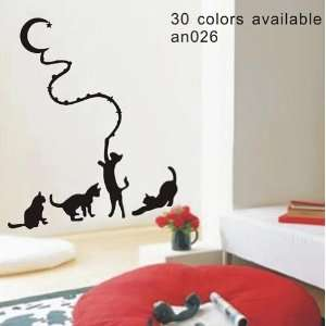 Large  Easy instant decoration wall sticker decor  play cat   22.8inch