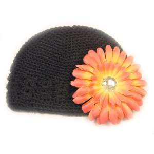 Fits 0   9 Months With a 4 Peach Gerbera Daisy Flower Hair Clip Baby