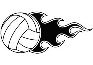 Volleyball Flame Decal Sticker Car Home Window Graphic
