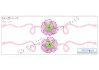 PINK PURPLE GREEN FLOWER wall SCROLL decor STICKERS accent vinyl
