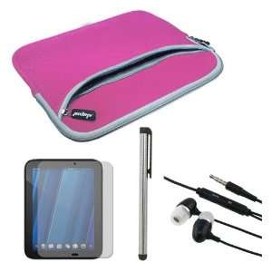 Pen + Pink Dual Pocket Carrying Case for HP Touchpad 9.7 Tablet