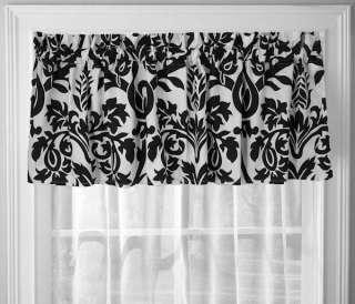 BLACK AND WHITE ZEUS DAMASK WINDOW TREATMENT VALANCE 18 X 70