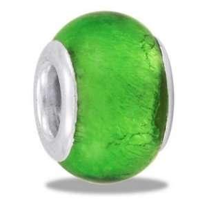 Light Green Genuine Foil Glass European/Memory Charm Double Sterling