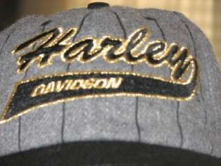 HARLEY DAVIDSON GRAY WOOL EMBROIDERED BASEBALL HAT CAP NEW