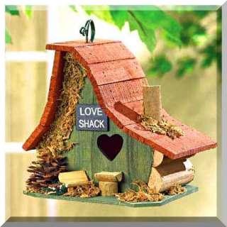 Brand New Adorable LOVE SHACK Cabin Wood BIRDHOUSE