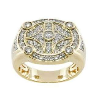 New Mens Round Cut Diamond Ring Comfort Fit Handmade 14k Yellow Gold