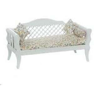 Dollhouse Miniature White Daybed with Pillows