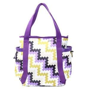 Girls Tote Bag Tribal Chevon zig zag pattern purple and tan and white
