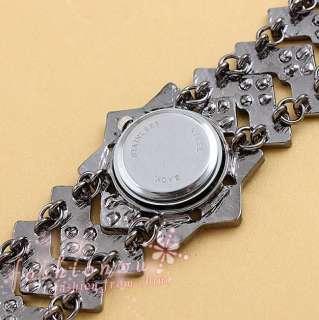 Black Nice Rhinestone Pane Quartz Bracelet WristWatch 1