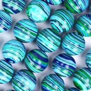 12mm Round Blue and Green Mosaic Gemstone Beads Arts