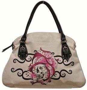 EJs SKULL in PINK ROSE Tattoo Style Tote Bag w/ Rhinestones (White