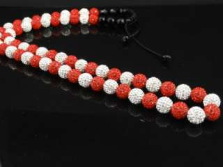 Mens White/Red & White Swarovski Crystal 30 Inch Chain Necklace New