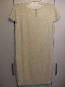 THEORY IVORY WHITE OFF SEQUINS EVENING COCKTAIL DRESS SIZE 6 NEW $675