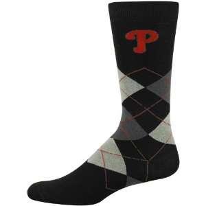 MLB Philadelphia Phillies Black Argyle Large Dress Socks