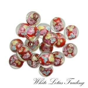 LAMPWORK RED PINK BLUE FLOWER ROUND GLASS 10 BEADS LOT