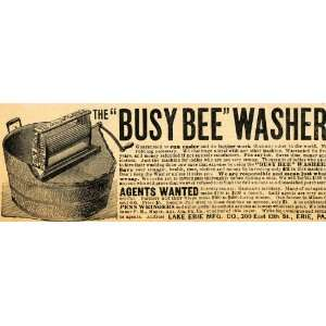 1892 Ad Lake Erie Manufacturing Busy Bee Antique Laundry