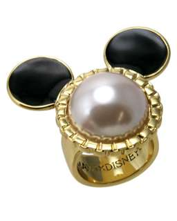 Disney Couture Minnie Mawi Pearl and Gold Mickey Mouse Ring Large