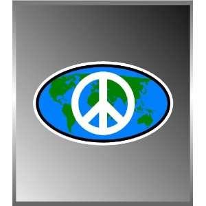 World Peace Sign Vinyl Euro Decal Bumper Sticker 3x5